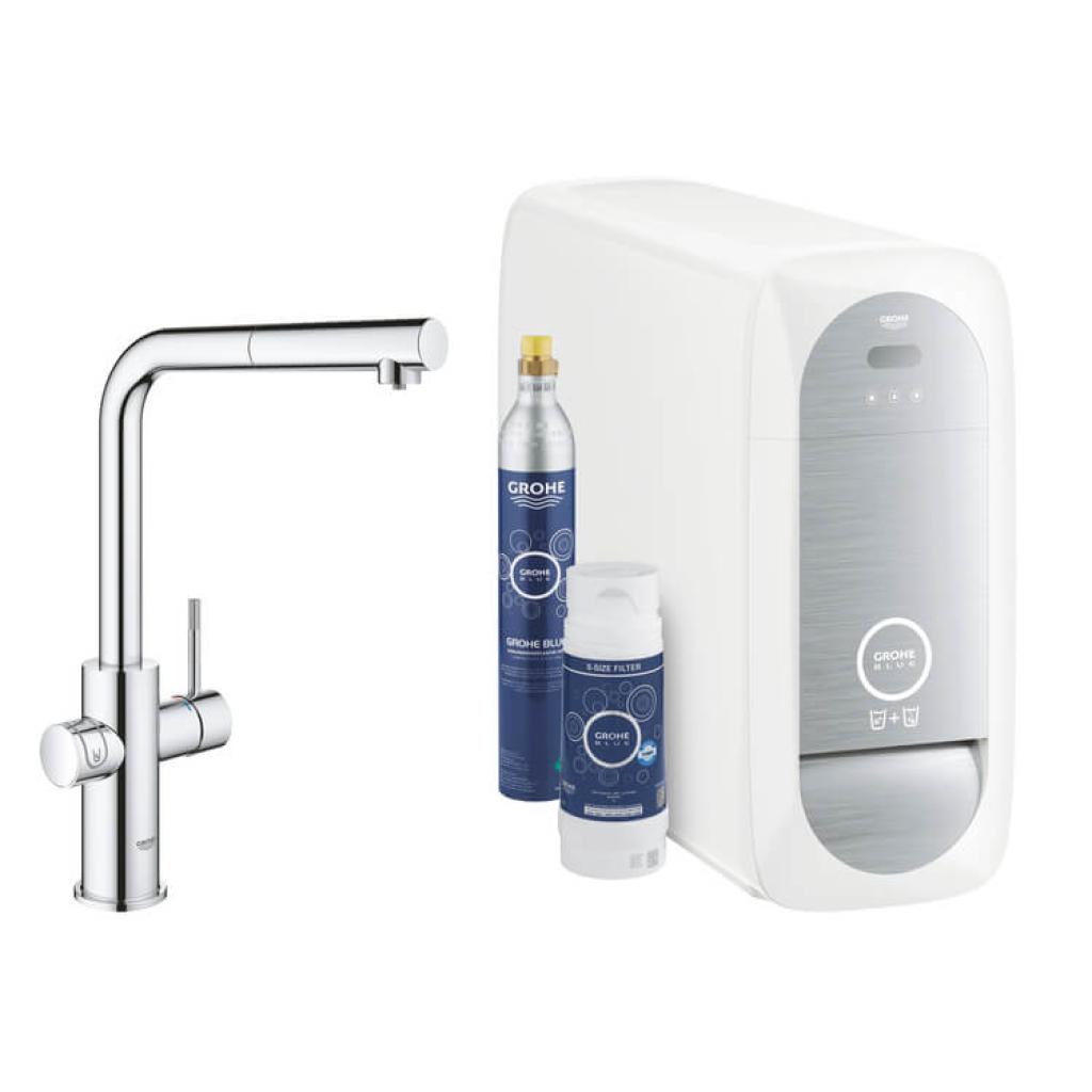 GROHE Blue Home, BT-Wifi, Mosseur,mit Boiler, L-Auslauf in chrom, Inhalt